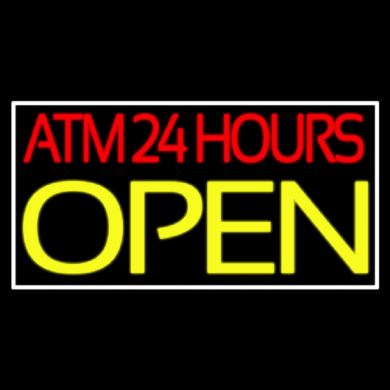 Atm 24 Hrs Open 2 Neon Sign