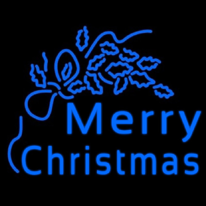 Blue Merry Christmas Neon Sign