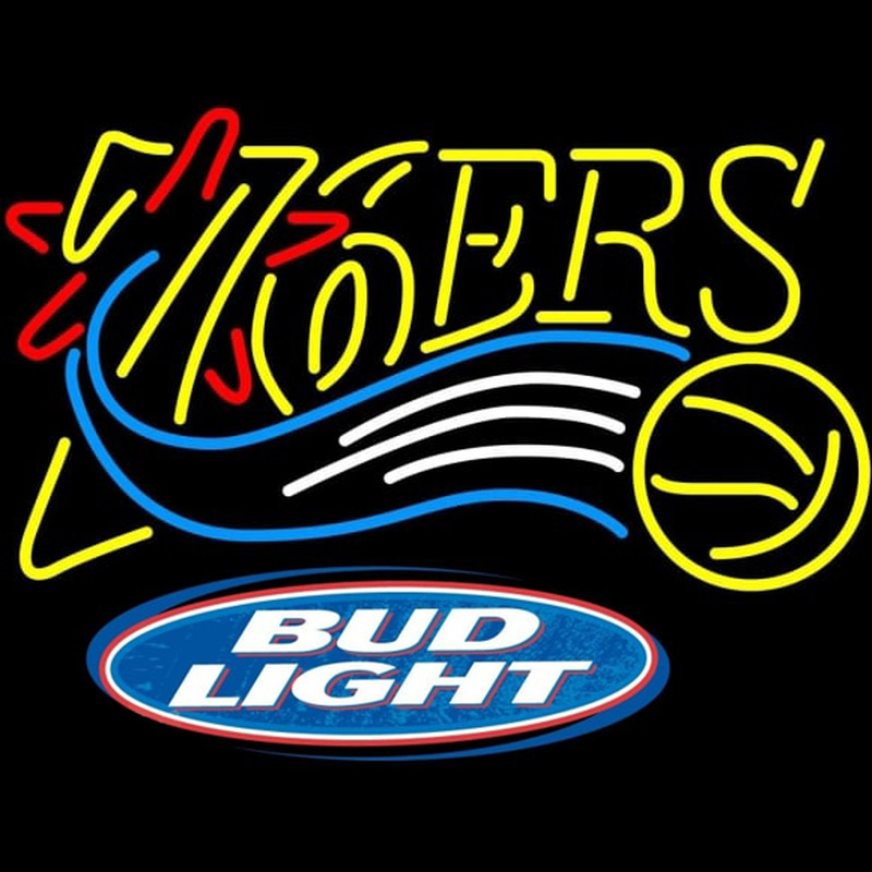 Bud Light Logo Philadelphia 76ers NBA Beer Sign Neon Sign