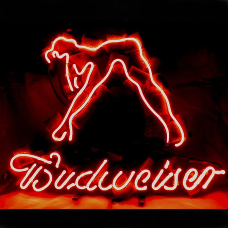 budweiser girl neon sign. Black Bedroom Furniture Sets. Home Design Ideas