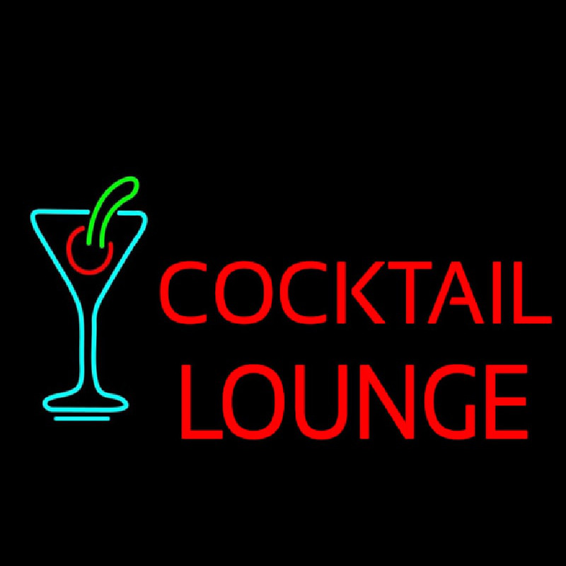 Cocktail Lounge With Martini Glass Neon Sign