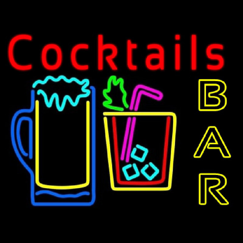 Cocktails Bar Open Neon Sign
