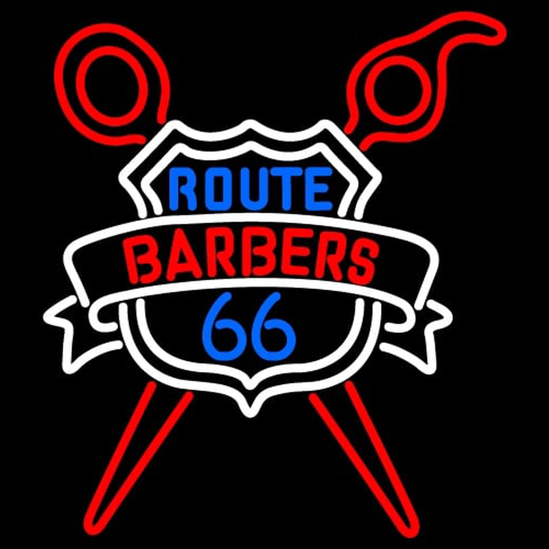 Custom Route Barbers 66 Logo Neon Sign Neonsignsus Com