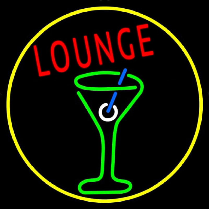 Lounge And Martini Glass Oval With Yellow Border Neon Sign