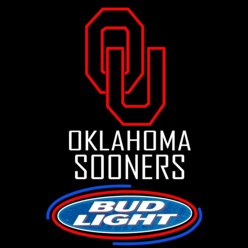 Oklahoma Sooners Bud Light Logo Neon Sign Neon Sign - NeonSignsUS com