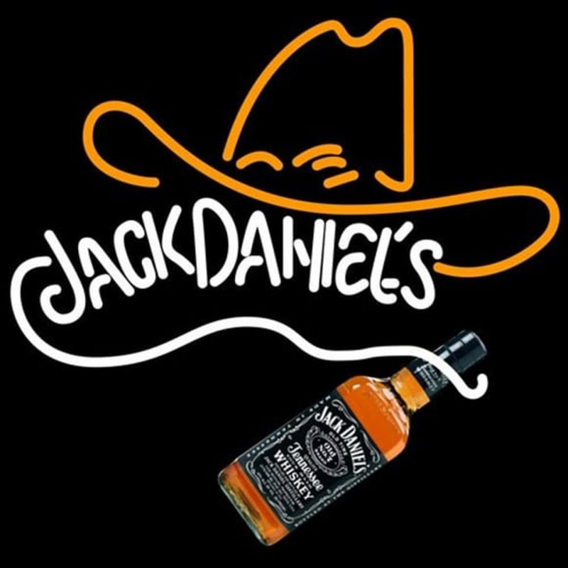 Rare Jack Daniels Whiskey Cowboy Hat Neon Sign