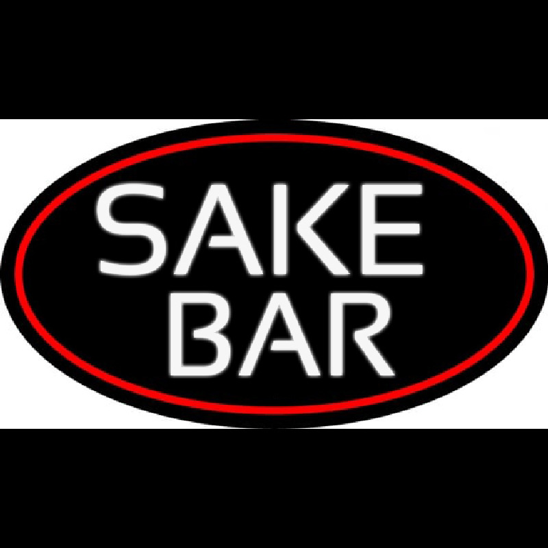 Sake Bar Oval With Red Border Neon Sign