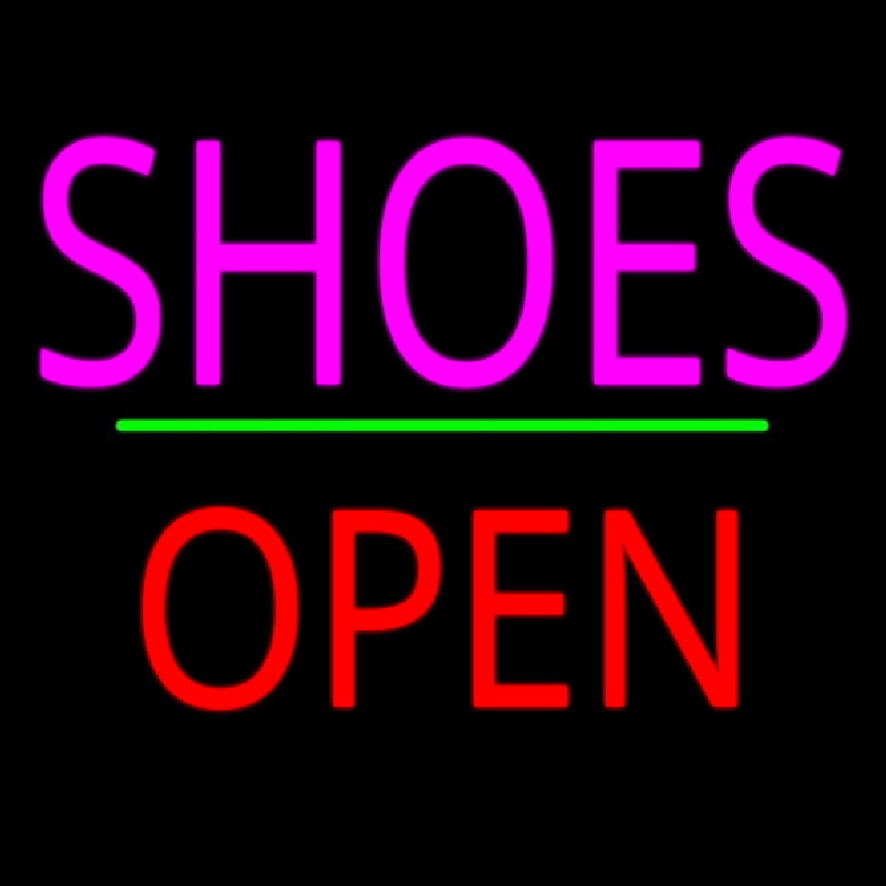 Shoes Open Block Green Line Neon Sign