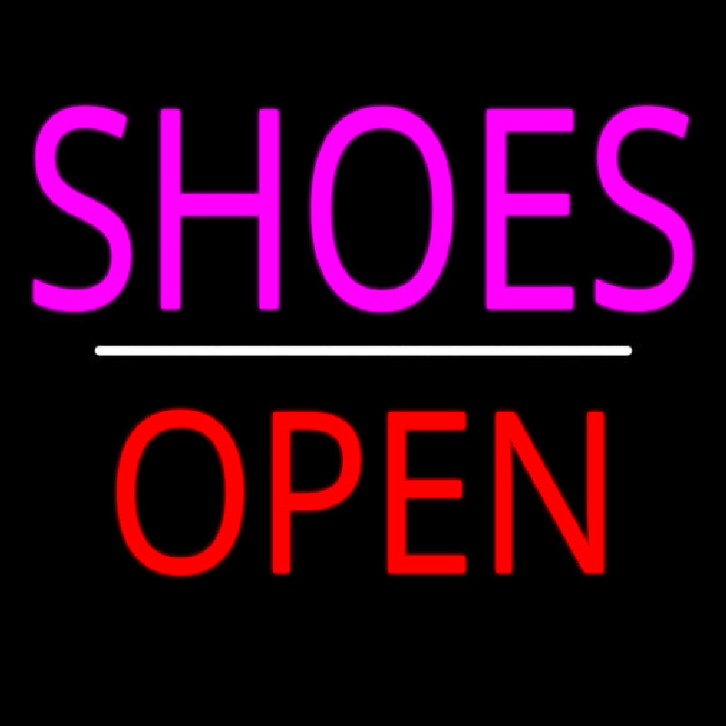 Shoes Open White Line Neon Sign
