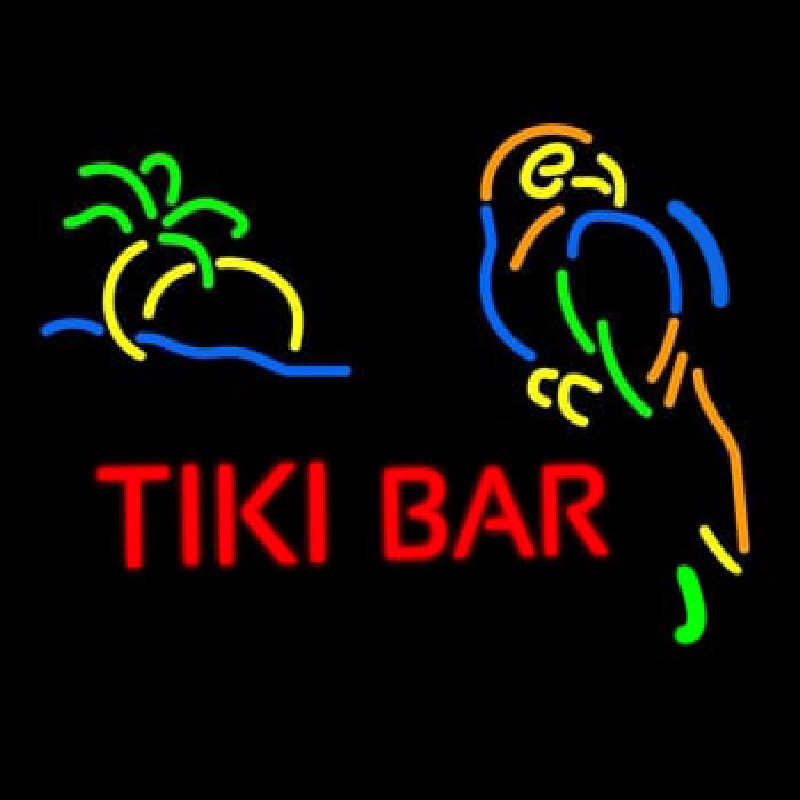 Tiki Bar With Parrot Neon Sign