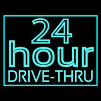 24 Hours Double Stroke Drive Thru Neon Sign