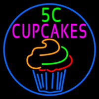 5c Cupcakes In Blue Round Neon Sign