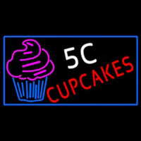 5c Cupcakes Neon With Blue Border Sign Neon Sign
