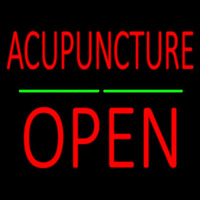 Acupuncture Block Open Green Line Neon Sign