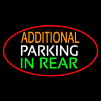 Additional Parking In Rear Oval With Red Border Neon Sign