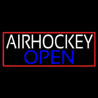 Air Hockey Open With Red Border Real Neon Glass Tube Neon Sign