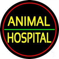 Animal Hospital Red Circle Neon Sign