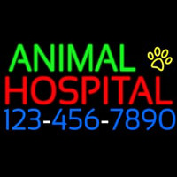 Animal Hospital With Phone Number Neon Sign