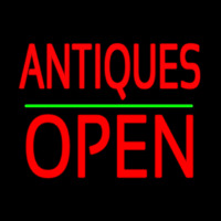 Antiques Block Open Green Line Neon Sign