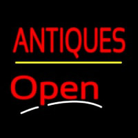 Antiques Open Yellow Line Neon Sign