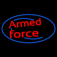 Armed Forces With Blue Round Neon Sign