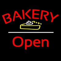 Bakery Logo Open White Line Neon Sign