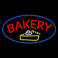 Bakery Logo Oval Blue Neon Sign