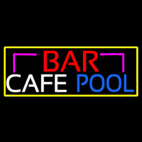 Bar Cafe Pool With Yellow Border Neon Sign