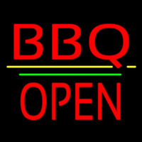 Bbq Block Open Green Line Neon Sign