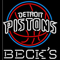 Becks Detroit Pistons NBA Beer Sign Neon Sign