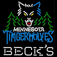 Becks Minnesota Timberwolves NBA Beer Sign Neon Sign