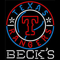 Becks Texas Rangers MLB Beer Sign Neon Sign