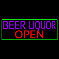 Beer Liquor Open With Green Border Neon Sign