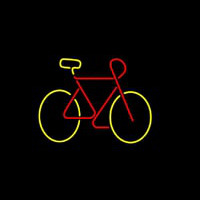 Bicycle Red Yellow Colored Logo Neon Sign
