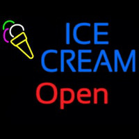 Block Ice Cream Red Open Neon Sign