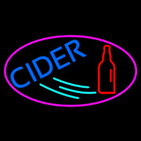Blue Cider With Pink Oval Neon Sign