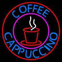 Blue Coffee Cappuccino With Red Circle Neon Sign