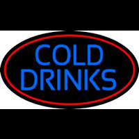 Blue Cold Drinks With Red Oval Neon Sign