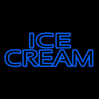 Blue Double Stroke Ice Cream Neon Sign