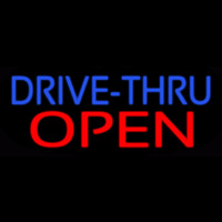 Blue Drive Thru Red Open Neon Sign