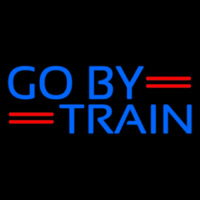 Blue Go By Train Neon Sign