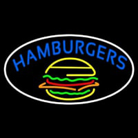 Blue Hamburgers Oval Neon Sign