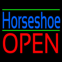 Blue Horseshoe Open Green Line Neon Sign