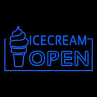 Blue Ice Cream Open Neon Sign