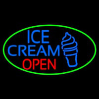 Blue Ice Cream Open With Green Oval Neon Sign