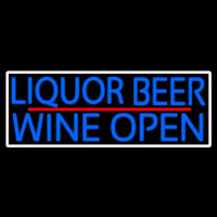 Blue Liquor Beer Wine Open With White Border Neon Sign