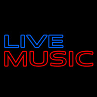 Blue Live Music Block Mic Logo Neon Sign