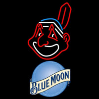 Blue Moon Cleveland Indians MLB Beer Sign Neon Sign