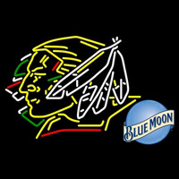 Blue Moon North Dakota Fighting Sioux Hockey Beer Sign Neon Sign