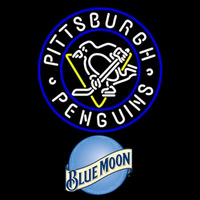 Blue Moon Pittsburgh Penguins Beer Sign Neon Sign